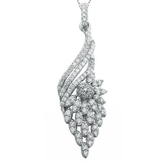 Suzy Levian Sterling Silver Pave Cubic Zirconia Floral Pendant