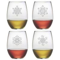 Abstract Snowflakes Stemless Wine Glass (Set of 4)