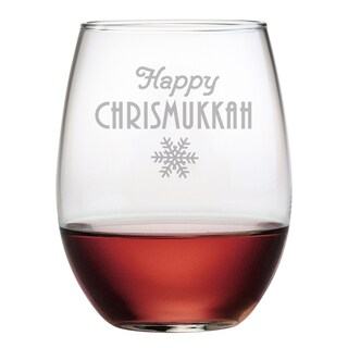Happy Chrismukkah Stemless Wine Glass (Set of 4)