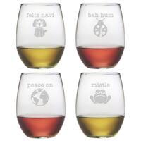 Punny Christmas Stemless Wine Glass (Set of 4)