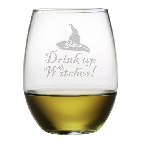 Drink Up Witches Stemless Wine Glass (Set of 4)