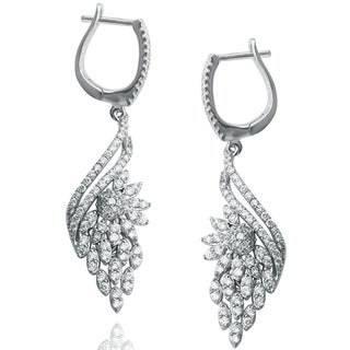Suzy Levian Pave Cubic Zirconia Sterling Silver Floral Earrings