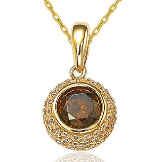 Suzy Levian Cubic Zirconia Sterling Silver Citrine Ball Pendant Necklace