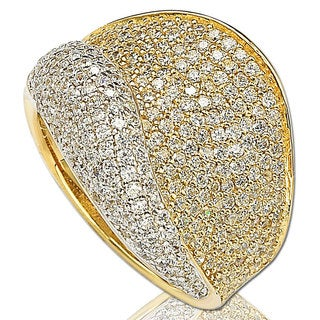 Suzy Levian 14K Goldplated Sterling Silver Cubic Zirconia Pave Band Ring
