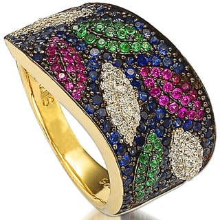 Suzy Levian Sterling Silver Pave Cubic Zirconia Multi-Color Leaf Ring