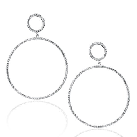 Suzy Levian Sterling Silver Micro Pave Cubic Zirconia Double Hoop Earrings