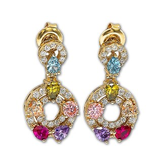 Suzy Levian Cubic Zirconia Sterling Silver Multi-Color Dangle Earrings