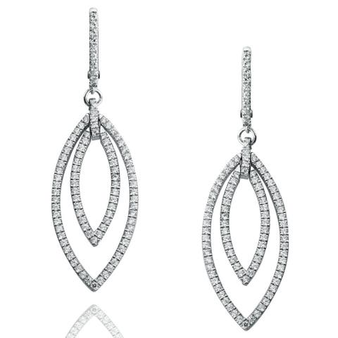 Suzy Levian Pave Cubic Zirconia Sterling Silver Dangling Earrings - White