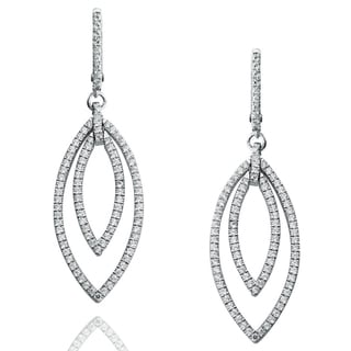 Suzy Levian Pave Cubic Zirconia Sterling Silver Dangling Earrings