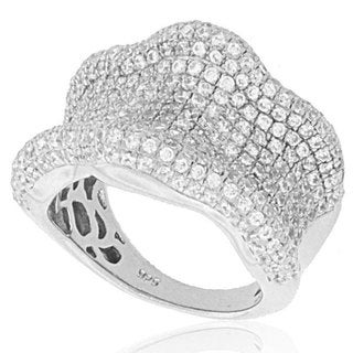 Suzy Levian Cubic Zirconia Sterling Silver Wavy Curved Ring