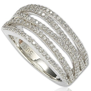 Suzy Levian Cubic Zirconia Sterling Silver Gladiator Ring (More options available)