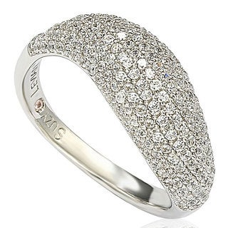 Suzy Levian Pave Cubic Zirconia Sterling Silver Bridal Ring