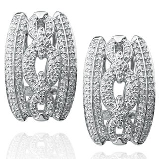 Suzy Levian Pave Cubic Zirconia Sterling Silver Gucci Link Earrings