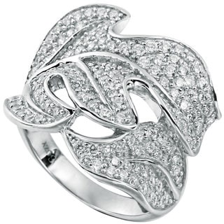 Suzy L Pave Cubic Zirconia Sterling Silver Leaf Ring