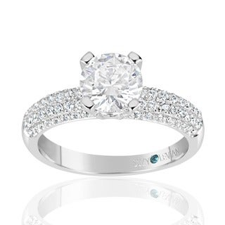 Suzy Levian Bridal Pave Cubic Zirconia Sterling Silver Engagement Ring