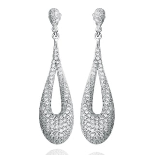 Suzy Levian Pave Cubic Zirconia Sterling Silver Drop Dangle Earrings
