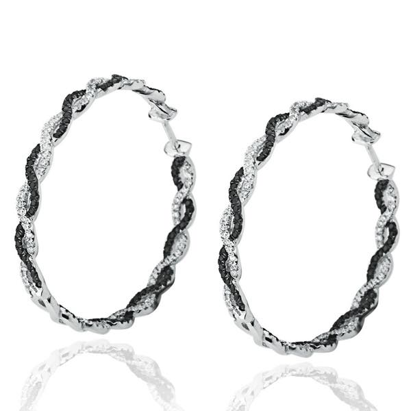 Sterling Silver Round Pave Twisted Earrings