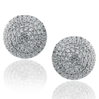 Suzy Levian Sterling Silver Pave Cubic Zirconia Ball Stud Earrings