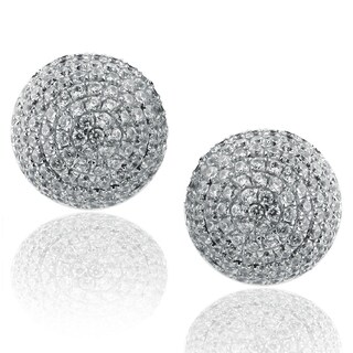 Suzy Levian Sterling Silver Pave Cubic Zirconia Ball Stud Earrings - White