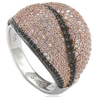 Suzy Levian Sterling Silver Pave Pink & Black Cubic Zirconia Ring|https://ak1.ostkcdn.com/images/products/10394673/P17497661.jpg?impolicy=medium