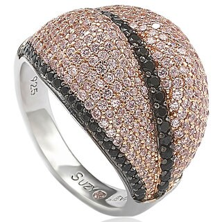 Suzy Levian Sterling Silver Pave Pink & Black Cubic Zirconia Ring