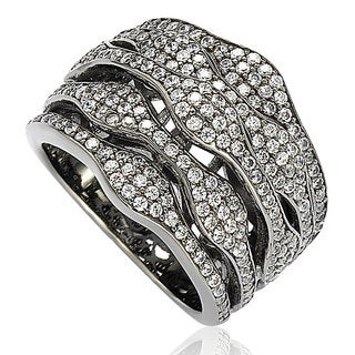 Suzy Levian Blackened Sterling Silver Cubic Zirconia Multi-Level Ring