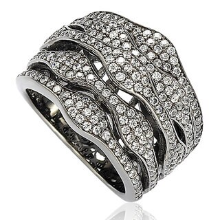 Suzy Levian Blackened Sterling Silver Cubic Zirconia Multi-Level Ring (4 options available)