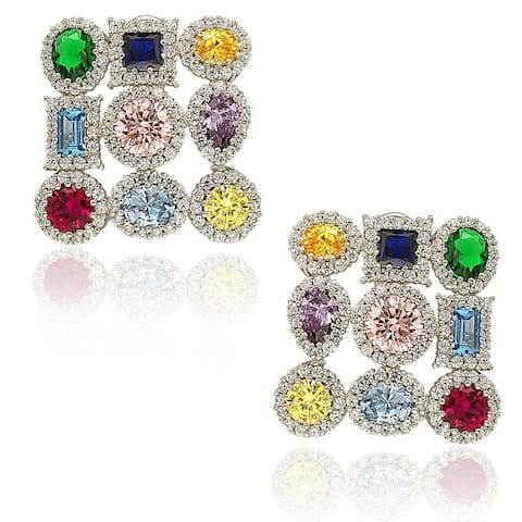 Suzy Levian Sterling Silver Cubic Zirconia Multi Color and Shape Earrings
