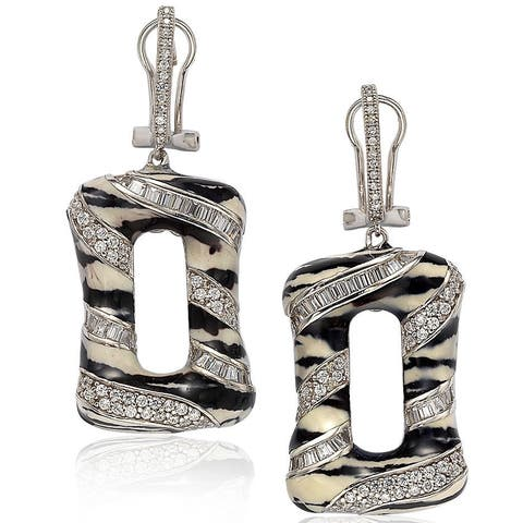 Suzy L. Sterling Silver Cubic Zirconia Animal Print Earrings