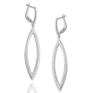 Suzy Levian Pave Cubic Zirconia Sterling Silver Long Earrings