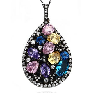 Suzy Levian Multi Color Cubic Zirconia Sterling Silver Pendant