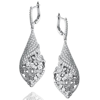 Suzy Levian Pave Cubic Zirconia Sterling Silver Pave Floral Drop Earrings
