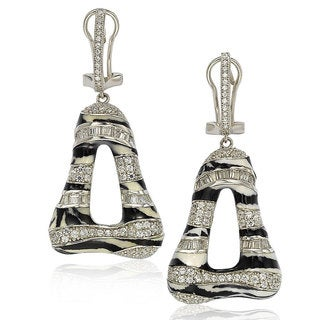 Suzy Levian Sterling Silver Cubic Zirconia Animal Print Earrings