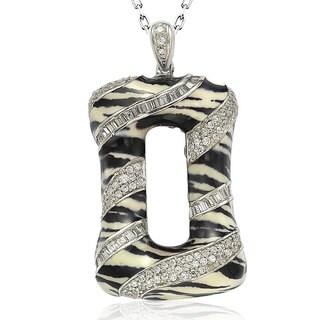 Suzy Levian Sterling Silver Cubic Zirconia Animal Print Pendant Necklace