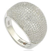 Suzy Levian Sterling Silver Pave Dome Cubic Zirconia Ring