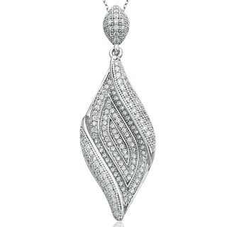 Suzy Levian Pave Cubic Zirconia Sterling Silver Swirl Pendant