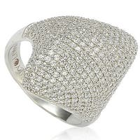 Suzy Levian Sterling Silver Pave Cubic Zirconia Pave Dome Ring