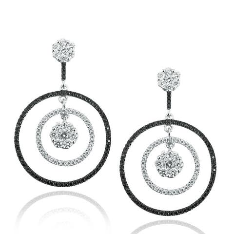 Suzy Levian Pave Cubic Zirconia Sterling Silver Earrings - Black