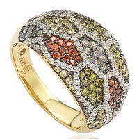 Suzy Levian Sterling Silver Pave Multi-Color Cubic Zirconia Ring - Gold
