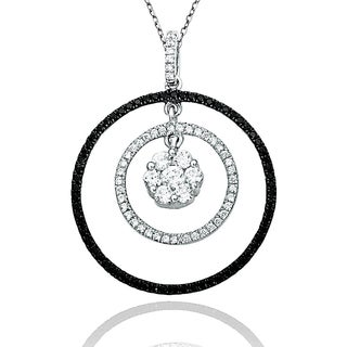 Suzy Levian Pave Cubic Zirconia Sterling Silver Double CIrcle Pendant