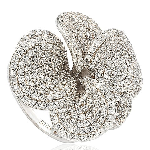 Suzy Levian Cubic Zirconia Sterling Silver Flower Ring - White