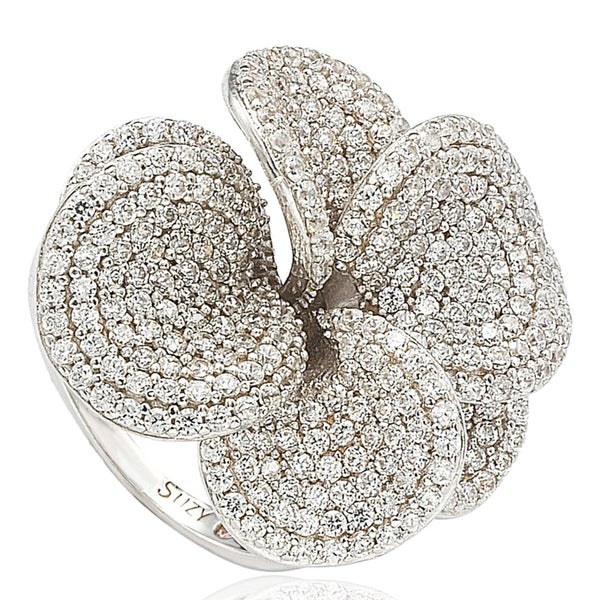 d82b39ad9 Shop Suzy Levian Cubic Zirconia Sterling Silver Flower Ring - White ...