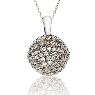 Suzy Levian Cubic Zirconia Sterling Silver Disco Ball Pendant