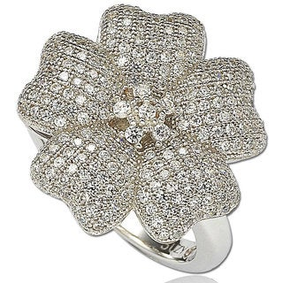 Suzy Levian Cubic Zirconia Sterling Silver Flower Pave Ring