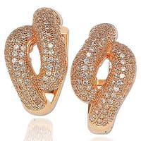 Suzy Levian Cubic Zirconia Rosed Sterling Silver Pave Cross Over Earrings