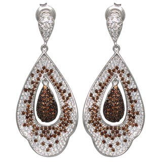 Suzy Levian Cubic Zirconia Sterling Silver White & Chocolate Dangle Earrings|https://ak1.ostkcdn.com/images/products/10394735/P17497698.jpg?impolicy=medium