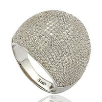 Suzy Levian Golden / White Sterling Silver Cubic Zirconia Pave Ring