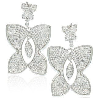 Suzy Levian Cubic Zirconia Sterling Silver Butterfly Dangle Drop Earrings