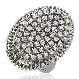 Suzy Levian Blackened Sterling Silver Cubic Zirconia Pave Ring