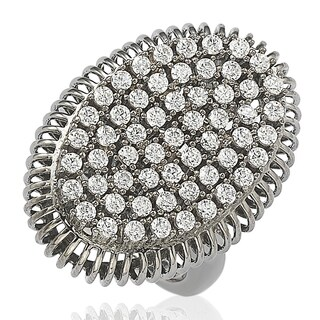 Suzy Levian Blackened Sterling Silver Cubic Zirconia Pave Ring - Black White